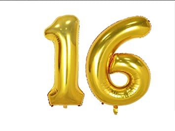 BABEE 40 Inch Gold 16 Number Balloons For 16th Birthday Party Decorations Foil Helium