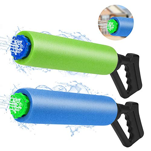 Nrbecurn Summer Pool Toys Water Guns for Kids-Long Range Water Shooting, Super Soaker Foam Water Guns for Pool Parties Beach Outdoor Activities, 2 -