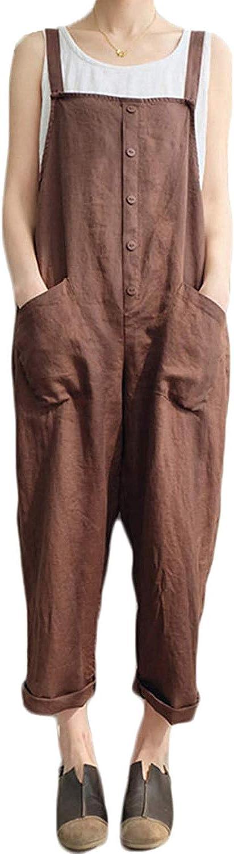 Lncropo Womens Baggy Wide Leg Overalls Cotton Linen Jumpsuit Harem Pants Casual Rompers