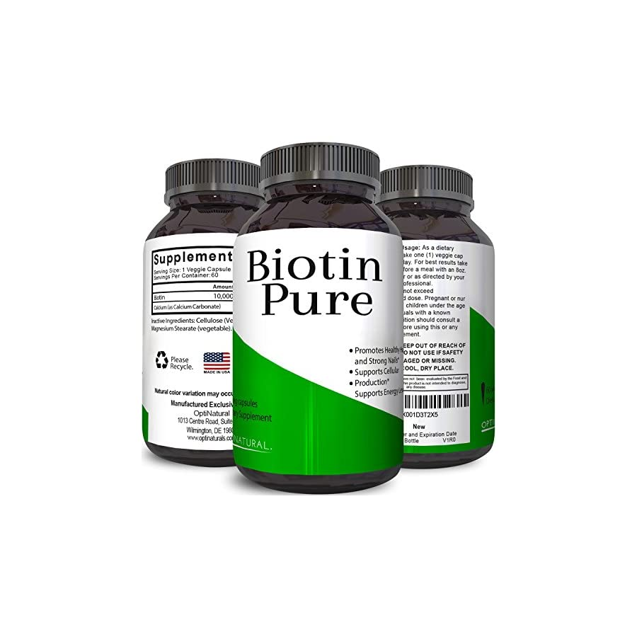 Best Biotin Pure Supplement Natural Pills for Hair Nail and Skin Health Potent Vitamins for Skin Care and Reduce Hair Loss Great For Metabolism and Digestion For Men & Women by Natures Design