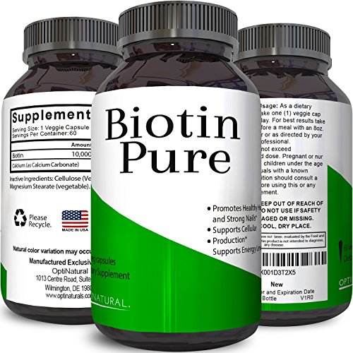 Best Biotin Pure Supplement Natural Pills for Hair Nail and Skin Health Potent Vitamins for Skin Care and Reduce Hair Loss Great For Metabolism and Digestion For Men & Women by Opti Natural