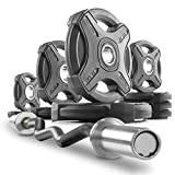 XMark Commercial Hard Chrome Olympic EZ Curl Bar Brass Bushings with Signature 95 lb. Olympic Plate Weight Sets, Great for Bicep Curl and Triceps Extension