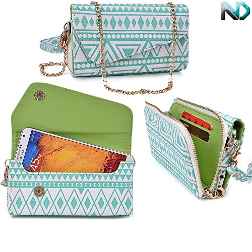 womens-wristlet-clutch-videocon-a55qhd-with-credit-card-holder-removable-crossbody-chain-tribal-azte