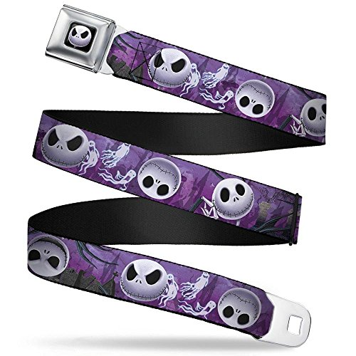 Buckle-Down Seatbelt Belt - Jack Expressions/Ghosts in Cemetery Purples/Grays/White - 1.5