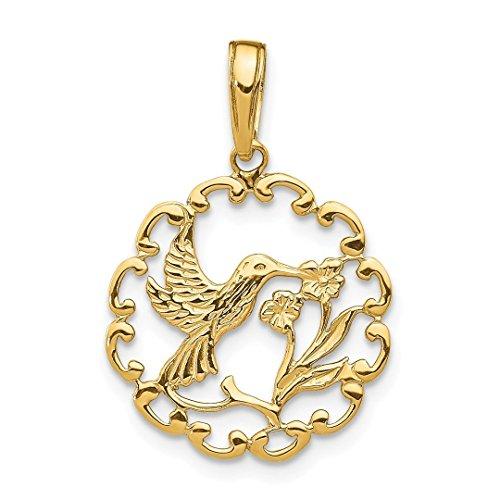 14k Yellow Gold Hummingbird Flower In Frame Pendant Charm Necklace Gardening Bird Fine Jewelry For Women Gift Set ()