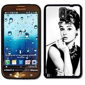Samsung Galaxy Note 3 Black Rubber Silicone Case - Audrey Hepburn Black and White Cigarette portrait
