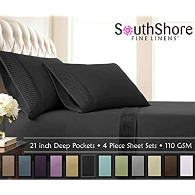 Southshore Fine Linens® - 4 Piece - Extra Deep Pocket Pleated Sheet Set , KING , BLACK