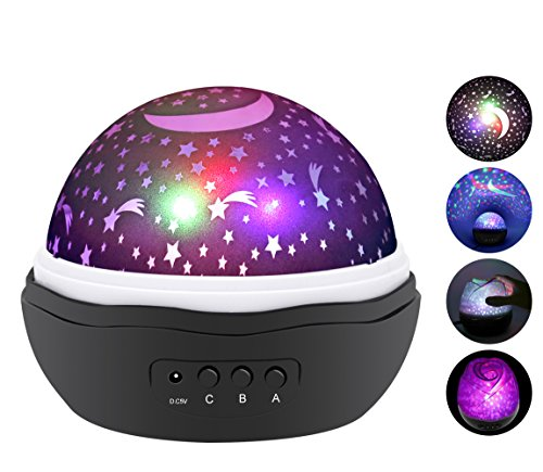 ANTEQI Star Lighting Lamp 4 LED Bead 360 Degree Romantic Room Rotating Cosmos Star Projector With 59 Inch USB Cable, Light Lamp Starry Moon Sky Night Projector Kid Bedroom Lamp (Rose Black) (Table Design Rose Lamp)