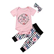 Baby Girls Little Sister Bodysuit Tops Floral Pants Bowknot Headband Outfits Set (0-6 Months, Style 6 Short Sleeve)
