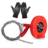 Drain Auger, SIX-QU Plumbing Snake Pipe Cleaner Household Auger with 1/4-Inch by 25-Feet Cable, Anti-skid Gloves Included