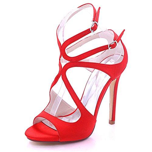 Toe Couleur Shoes à mariée Multi Talons 3 Red Open Court L 8 Hauts 7216 Grande YC Nuptiale Satin Femmes 06 Taille nqACww8SBx