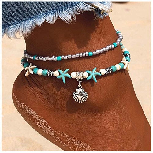 Kucheed Boho Anklets Blue Starfish Turtle Multi-Layer Charm Beads Beach Handmade Anklet Foot Jewelry Gifts for Women Girls (Shell) (Of Mother Flower Hawaiian Pearl)