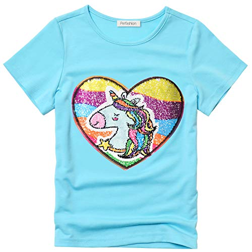 Flippy Sequin T-Shirt for Girls Size 7 Blue Unicorn Outfits Short Sleeve Tops