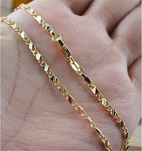 NiceWave Hot 18K Gold Plated Thin Link Flat Chain Necklace Women Men Fashion Jewelry 20'' EW sakcharn Beautiful jewelry by NiceWave (Image #3)