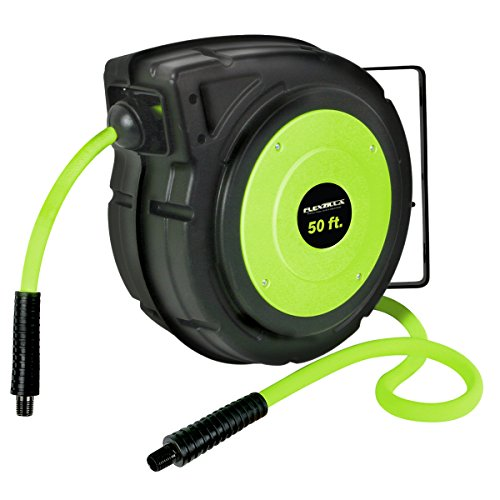 Flexzilla Retractable Enclosed Plastic Air Hose Reel, 3/8 in. x 50 ft, Heavy Duty, Lightweight, Hybrid, ZillaGreen - L8250FZ (Hose Plastic Reel Air)