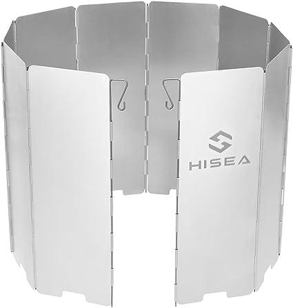 Hisea 10 platos plegable parabrisas al aire libre Camping Estufa Parabrisas Cocina Estufa De Gas Escudo De Viento Pantallas