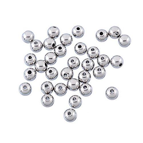 Housweety 50 Perles En Acier Inoxydable Solide Boule Rond 6mm Dia.