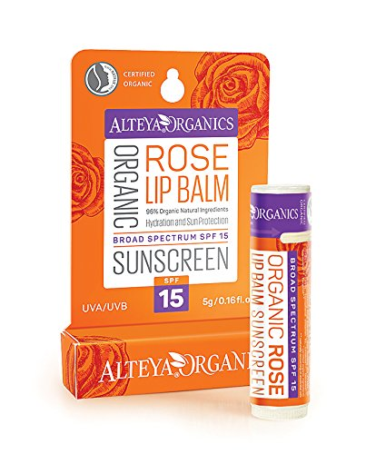 Alteya Organic Lip Sunscreen Balm - Rose - Broad Spectrum SPF15 - NaTrue Certified Organic, based on Bulgarian Rose Essential Oil (Rosa Damascena) Alteya Organics