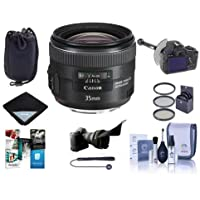Canon EF 35mm f/2 IS USM Lens, USA - Bundle with DSLR Follow Focus & Rack Focus, 67mm Filter Kit, Flex Lens Shade, Cleaning Kit, Lens Wrap, Lens Pouch, Cap Leash II, Software Package
