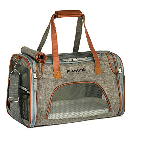 Airline Approved Pet Carrier for Cats & Dogs, 2018 Design, Small, Low Profile Luxury Travel Bag Tote with Fleece Bedding & Safety Locks, Under Seat Compatibility, Perfect for Cats and Small Dogs