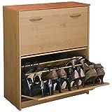 Double Shoe Cabinet w Tilt-Down Doors in Oak Finish