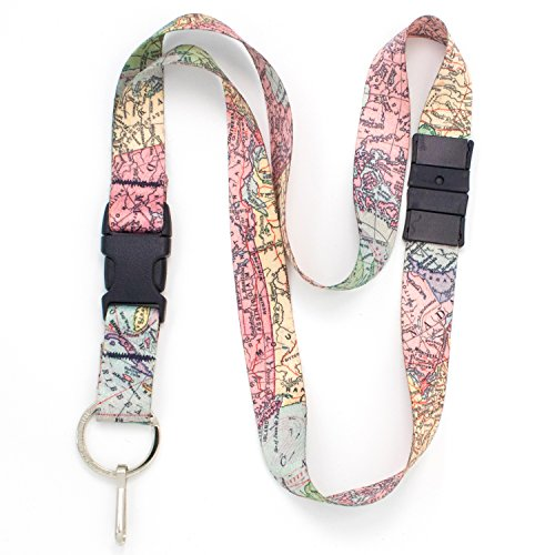 (Buttonsmith Map Breakaway Lanyard - with Buckle and Flat Ring - Made in The USA)