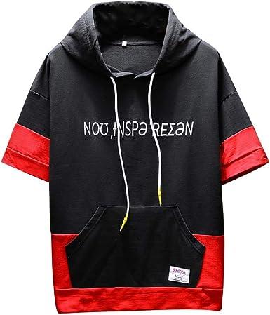 beautyjourney Camisetas de Manga Corta para Hombre Sudadera con Capucha Camisa Casual Transpirable Holgada de Verano Sudadera Patchwork con Bolsillo Canguro: Amazon.es: Ropa y accesorios