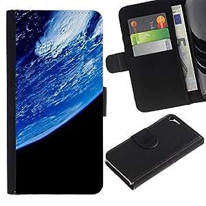 A-type (Planeta Tierra desde el espacio) Colorida Impresión Funda Cuero Monedero Caja Bolsa Cubierta Caja Piel Card Slots Para Apple iPhone 5 / iPhone 5S