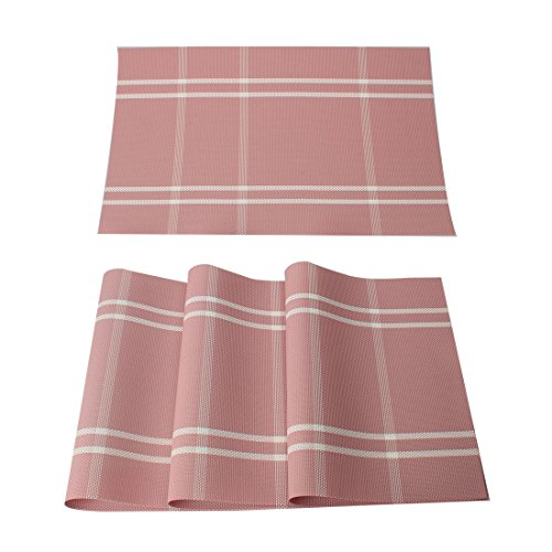 uxcell Washable Placemats Set of 4 Heat-Resistant Cross Woven PVC Non-Slip Insulation Mats for Kitchen Dining Table, Rectangle, Pink Plaid, 18″ x 12″