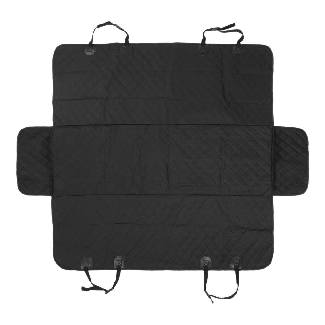 Car Rear Back Seat Carrier Cover Pet Dog Mat Blanket Cover with Ear Predective Waterproof Pad for Pets Cat Travelling  Black
