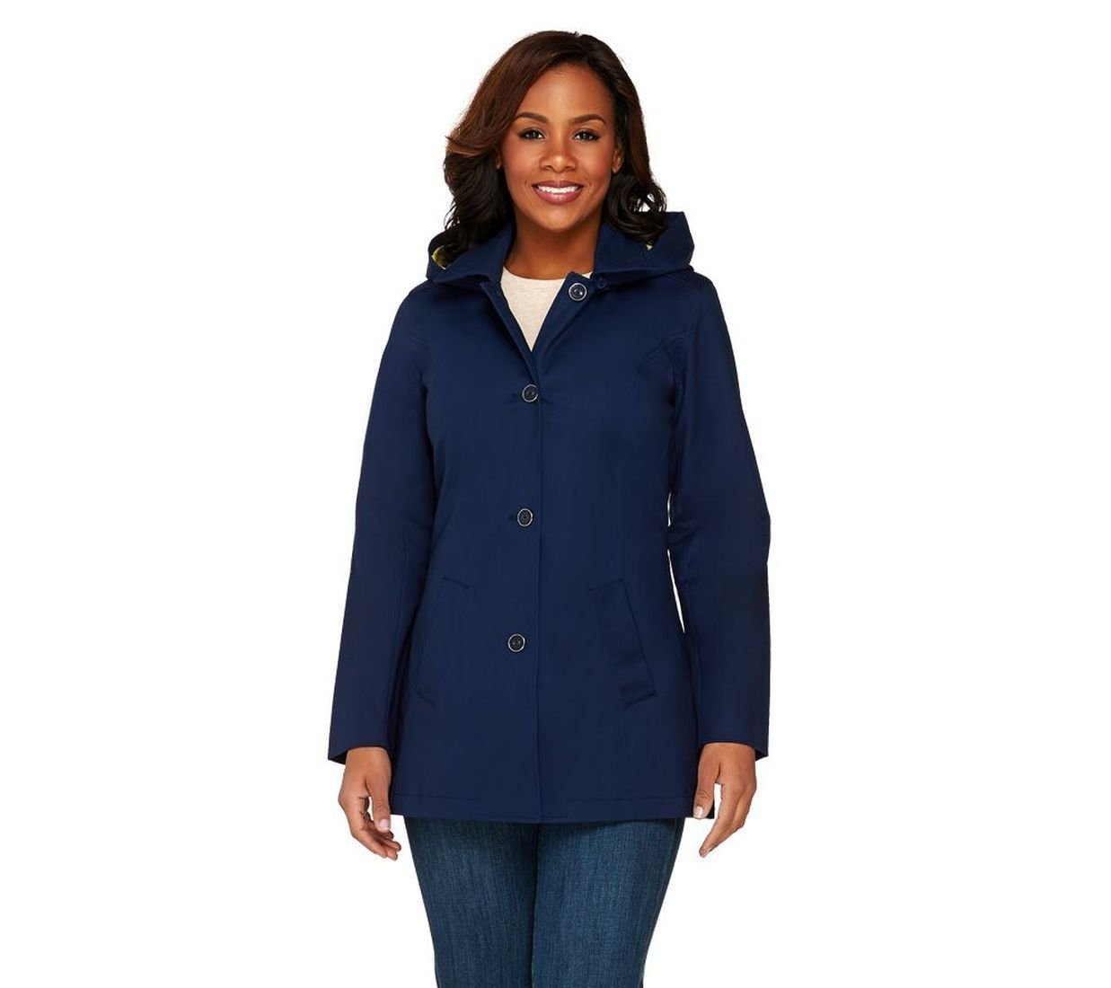 Isaac Mizrahi Woven Semi-Fit Water Repellent Walking Coat Navy 10 New A263841