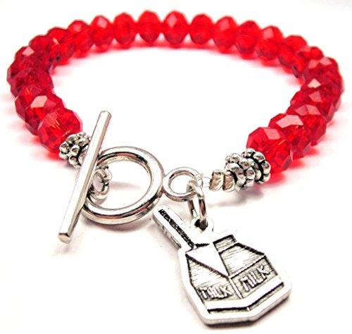 Little Milk Carton Crystal Toggle Bracelet in Crimson Red