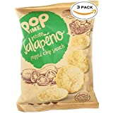 POP TIME Popped Chips - 3 Count (3 oz Bags) Jalapeno - Never Fried, Never Baked, Non-GMO, Preservatives Free, Dairy Free, Nut Free, Gluten Free, 0g Trans Fat, Healthy, Natural Ingredients