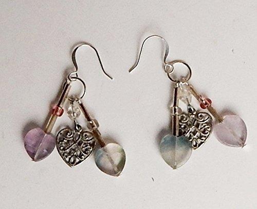 Fluorite Earrings Chandelier Dangle Gemstone Heart Charm Jewelry Lavender - Fair Fasion
