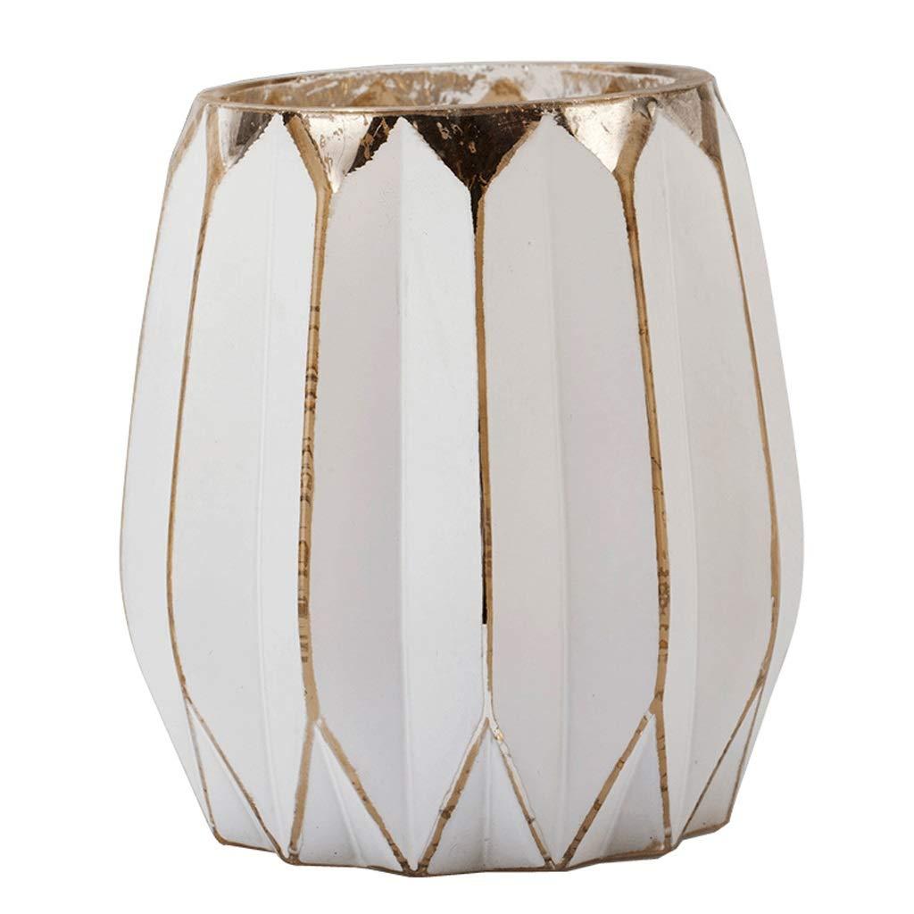 シンプルなガラス白の壊れた金デスクトップホームドライフラワー花瓶 QYSZYG (サイズ さいず : 14*14*20cm) B07QQLYTZ5  14*14*20cm