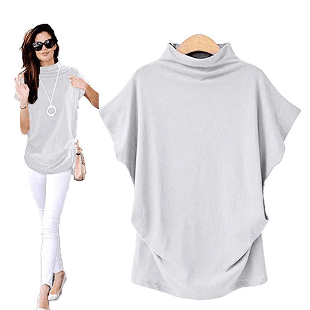 IEasⓄn Plus Size Series Women Casual Loose Flare Sleeve Turtleneck Short Sleeve Tee Shirt Blouse Tops (XXXL, White)