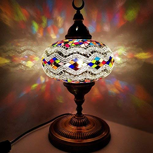 (Handmade Extra Large Turkish/Moroccan/Tiffany Style Glass Mosaic Desk Table Lamp Light 45 Centimeter Tall)