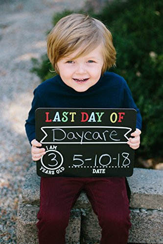 Pearhead First and Last Day of School Photo Sharing Chalkboard Signs; The Perfect Back to School Chalkboard Sign to Commemorate The First Day of School, Set of 2 by Pearhead (Image #3)