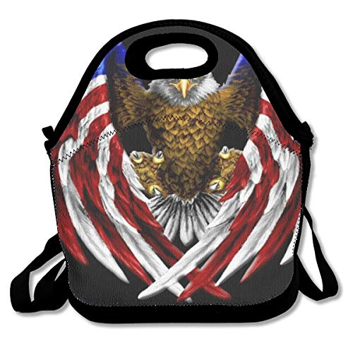 American Bald Eagle Freedom Wings Flag Talons Meticulously Design Waterproof Women Mens Kids Neoprene Thermal Insulated Lunch Bag