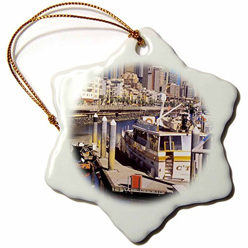 OneMtoss Danita Delimont Seattle Seattle Skyline from Bell Harbor on The Waterfront US RDU Richard Duval Snowflake Porcelain Ornament