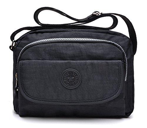 Crossbody Sacs Noir tuokener Waterproof Voyager Nylon Imperméable Bag Bandoulière Femme Pour O1vvqdYw