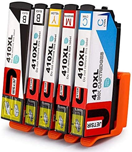 2Black,1Cyan,1Magenta,1Yellow,1 Photo Black JinHan Remanufactured Ink Cartridges Replacement for Epson 410XL 410 XL T410XL to use with Expression XP-530 XP-630 XP-635 XP-640 XP-830 XP-7100 Printer