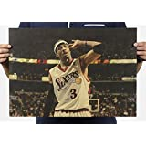 Fange Allen Iverson NBA Star Poster Antique Vintage Old Style Decorative Poster Print Wall Decor Decals 20''x13.9''