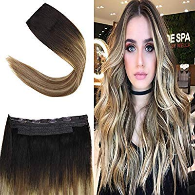 Youngsee 18 inch Remy Hidden Crown Halo Hair Extensions Balayage Ombre Darkest Brown to Medium Brown with Blonde Invisible Wire Human Hair Extensions 80g/set