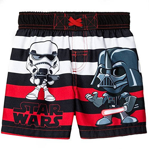 Darth Vader In Suit (Disney Star Wars Boys Swim Trunks Swimwear (2T, Vader Black/Red/White))