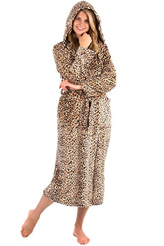 - VEAMI Women's Aspen Ultra-Soft Plush Warm Fleece Bathrobe with Hood-Leopard Rosette-Large, Long
