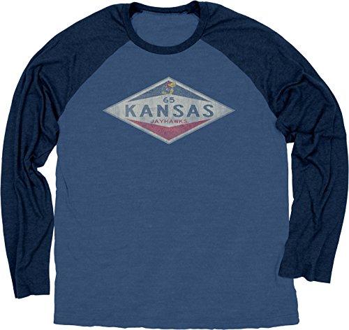 - NCAA Kansas Jayhawks Ring Spun Long Sleeve Raglan Tee, X-Large, Royal