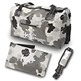 Karst Vale Waterproof Duffle Bag, 40L Gym Training Duffel Bag - Travel Tote Luggage Bag with Shoulder Strap, Camo Grey