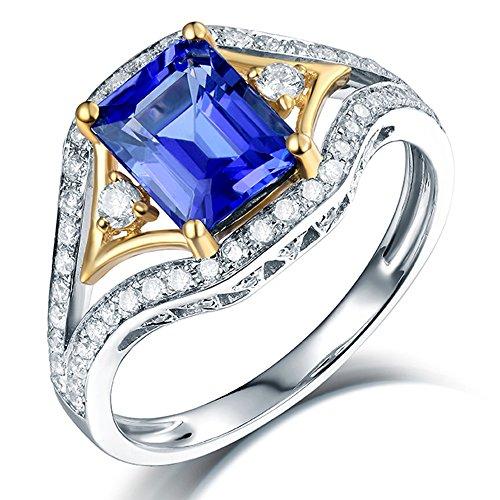 Lanmi Beautiful Two Tone Natural Blue Tanzanite Diamonds Engagement Rings 14K White & Yellow Gold Band for Women Ladies Valentine's Day - Ring Tanzanite Two Tone