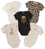 Juicy Couture Baby Girls 5 Packs Bodysuit, Oatmeal/Gold/Black, 6-9 Months